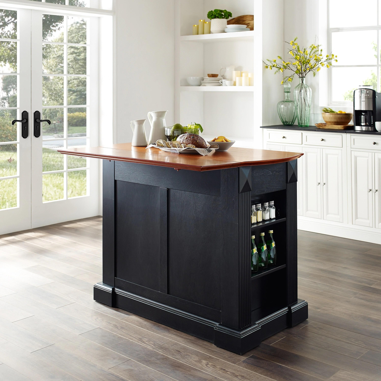 Crosley Furniture Coventry Black Drop Leaf Breakfast Bar Top Kitchen Island