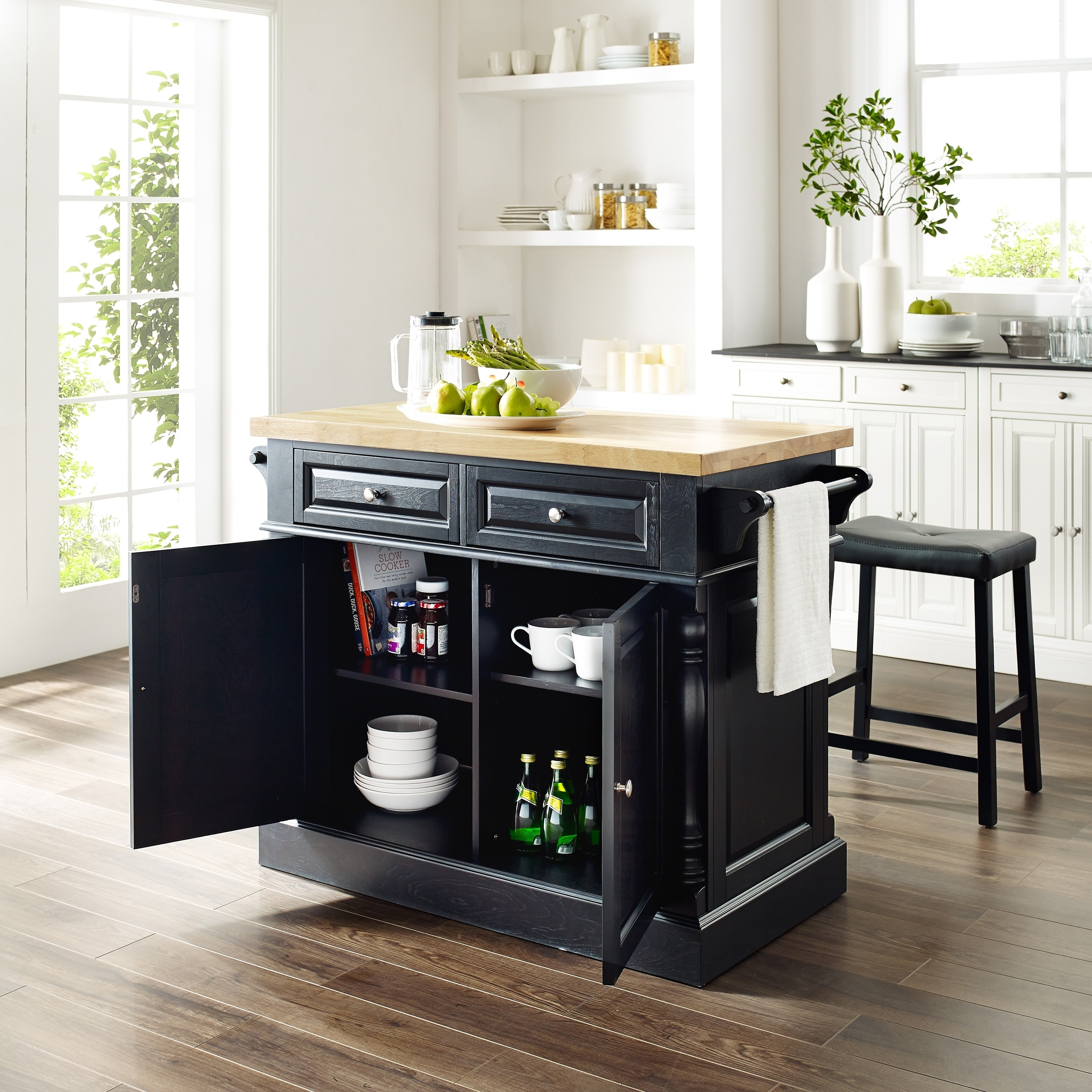 Oxford Butcher Block Top Kitchen Island In Black Finish With 24 Black Upholstered Saddle Stools Overstock 16007500