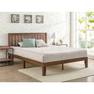 Buy Platform Bed Online at Overstock com   Our Best Bedroom     Priage Antique Espresso Solid Wood Platform Bed with Headboard