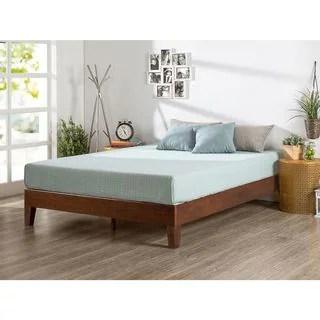 Priage Deluxe Antique Espresso Solid Wood Platform Bed