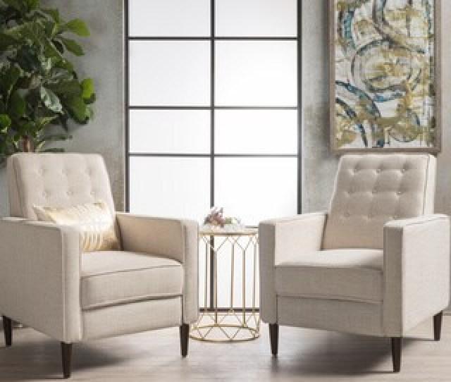Mervynn Mid Century Fabric Recliner Club Chair Set Of  By Christopher Knight
