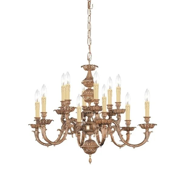 Crystorama Oxford Collection 12 Light Olde Brass Chandelier