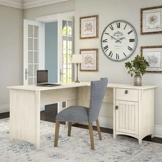 Home Office Furniture   Find Great Furniture Deals Shopping at     Maison Rouge Lucius Antique White L shaped Storage Desk