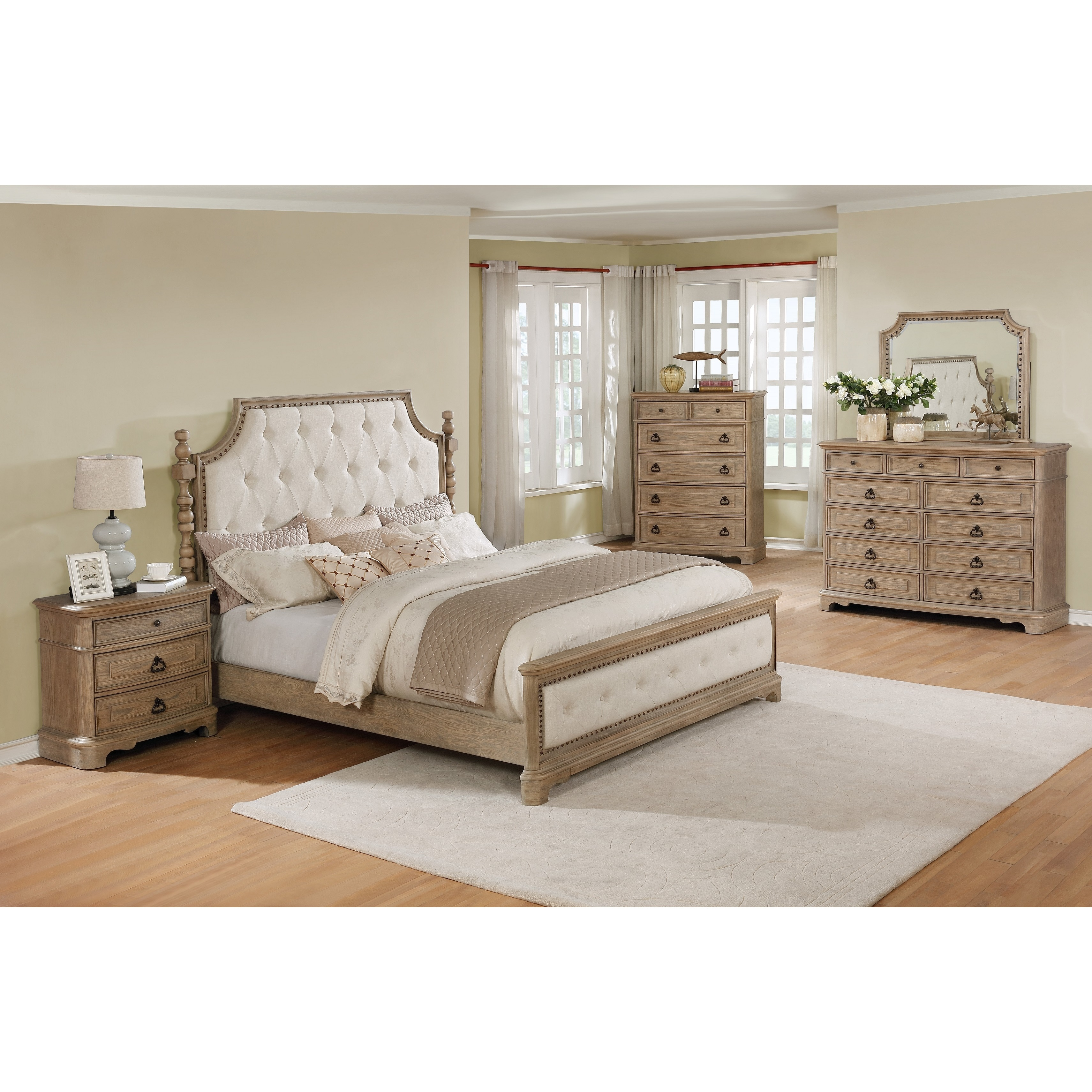 piraeus 296 solid wood construction bedroom set with queen size bed dresser mirror chest and night stand