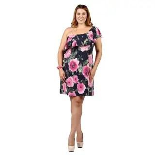0fc8d3f4b3 Shop Xehar Womens Plus Size Off Shoulder Floral Print Ruffle Dress ...