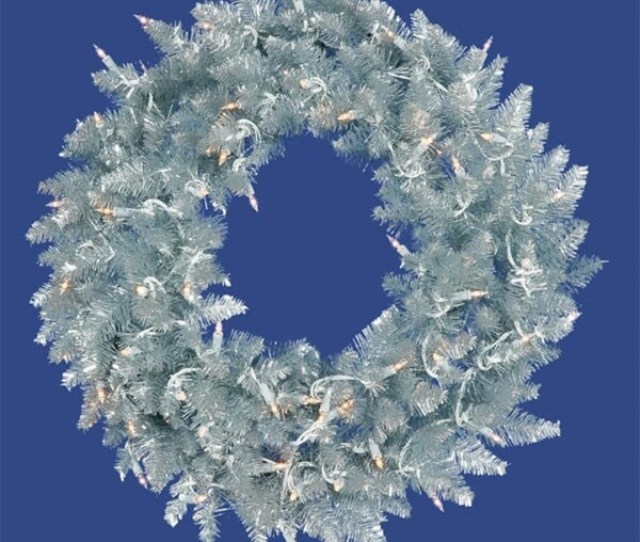 Pre Lit Silver Ashley Spruce Tinsel Christmas Wreath Clear Lights