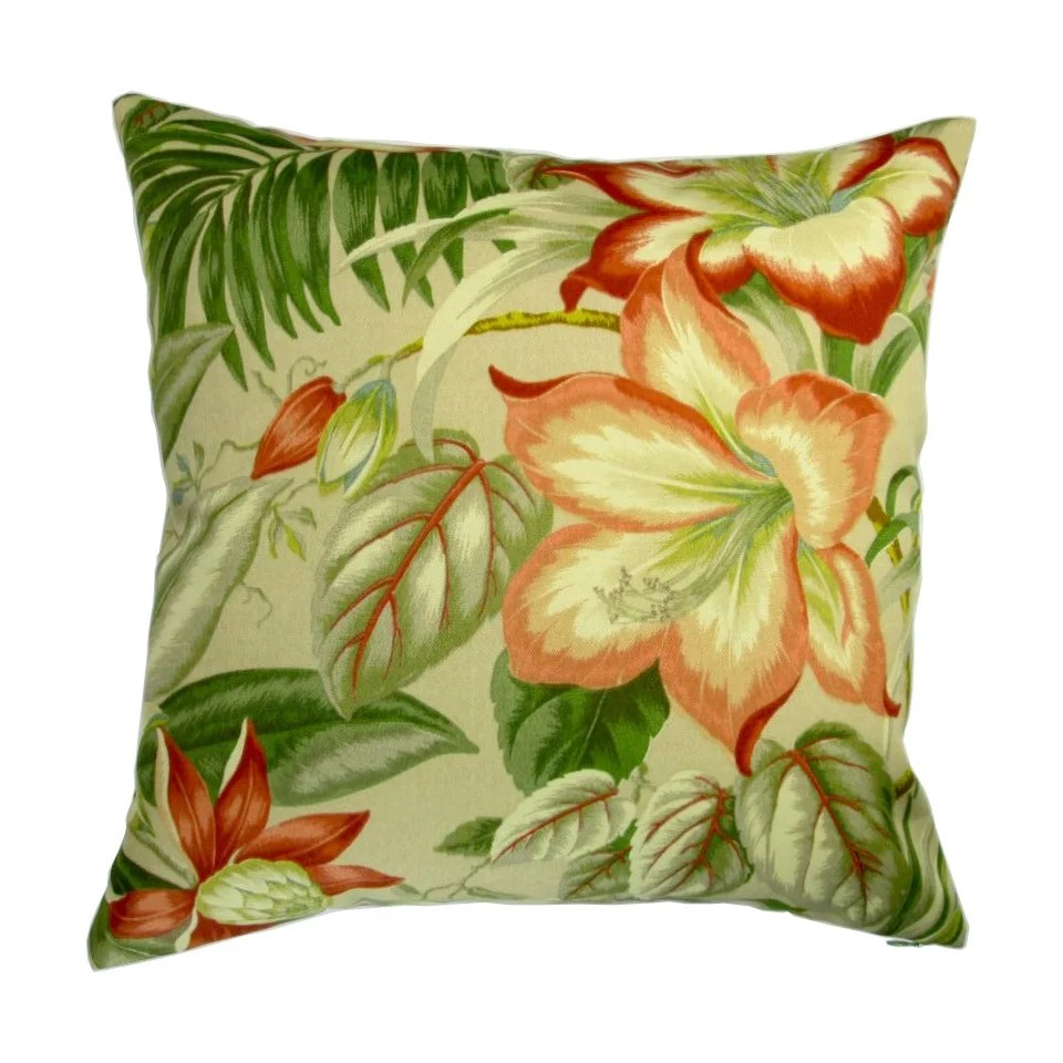 18 inch indoor outdoor tropical island hawaiian beach botanical hibiscus flowers pillow cover only set of 2