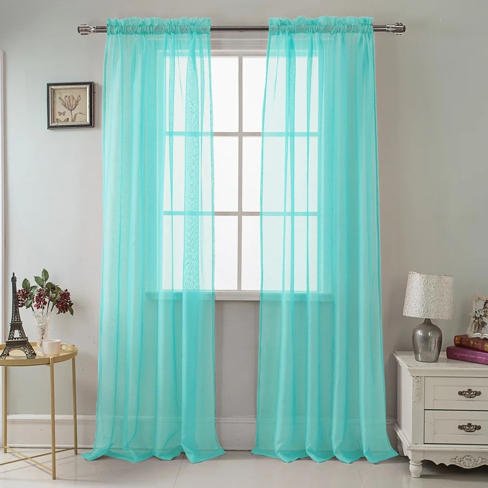 buy 90 inches rod pocket curtains