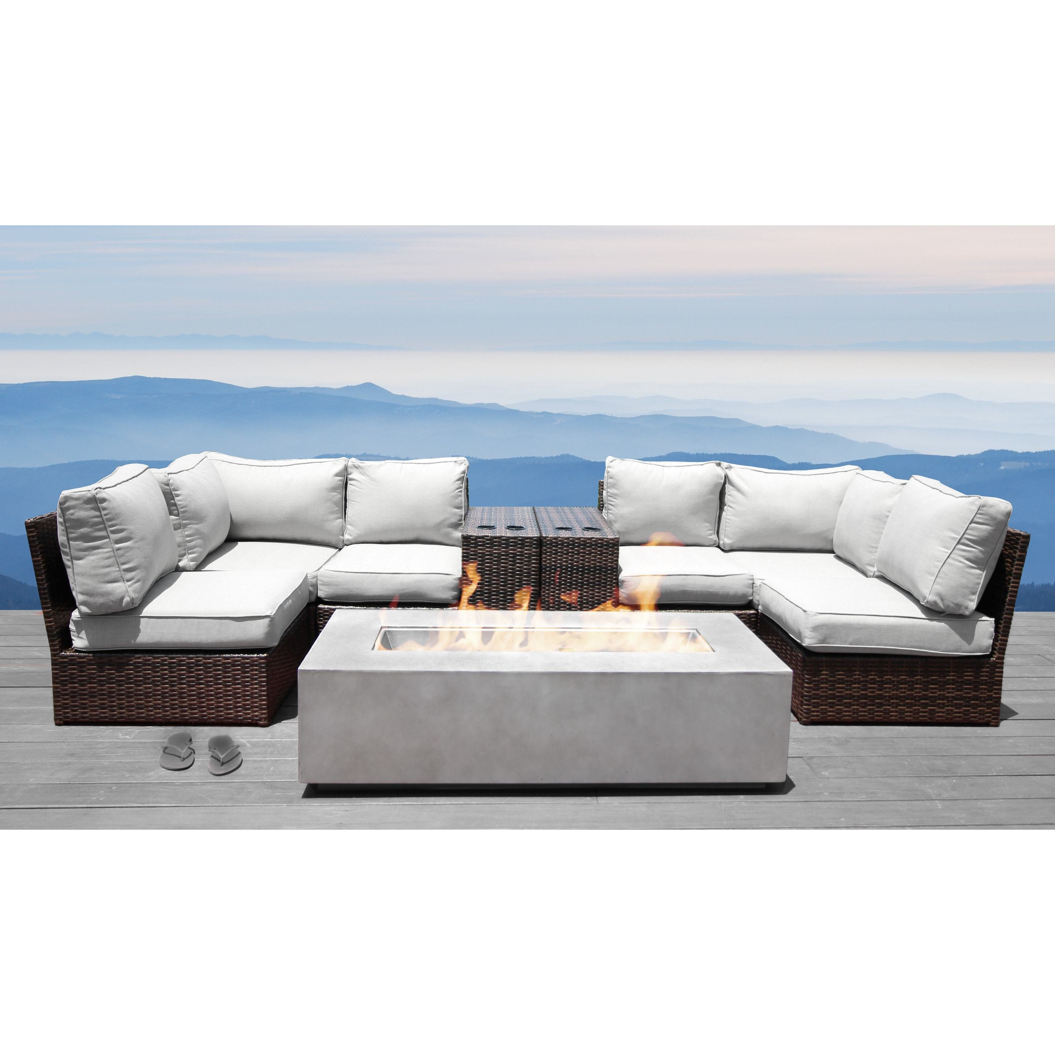 living source international lucca 9 piece cup table fire pit sectional