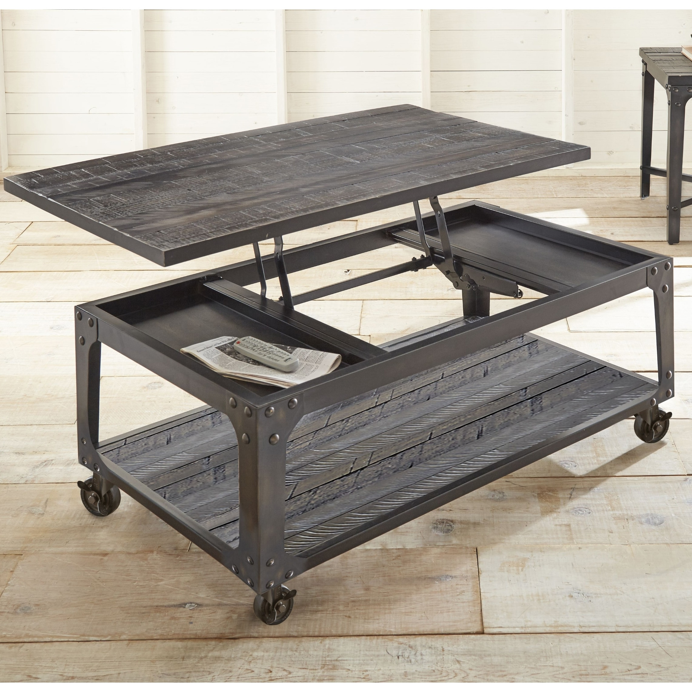 springdale industrial style 48 inch rectangle lift top coffee table by greyson living