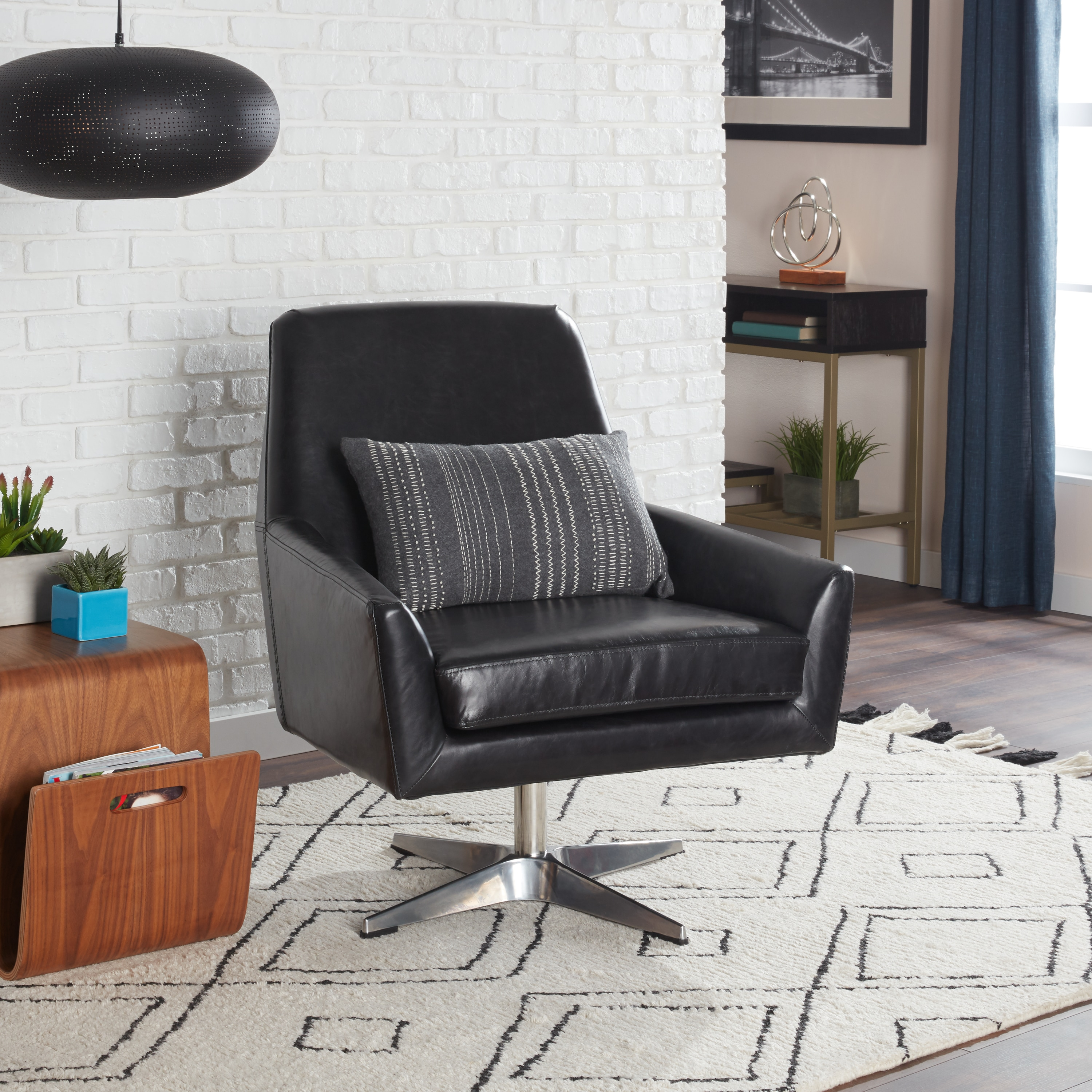 Carson Carrington Lisbon Off Black Leather Swivel Chair