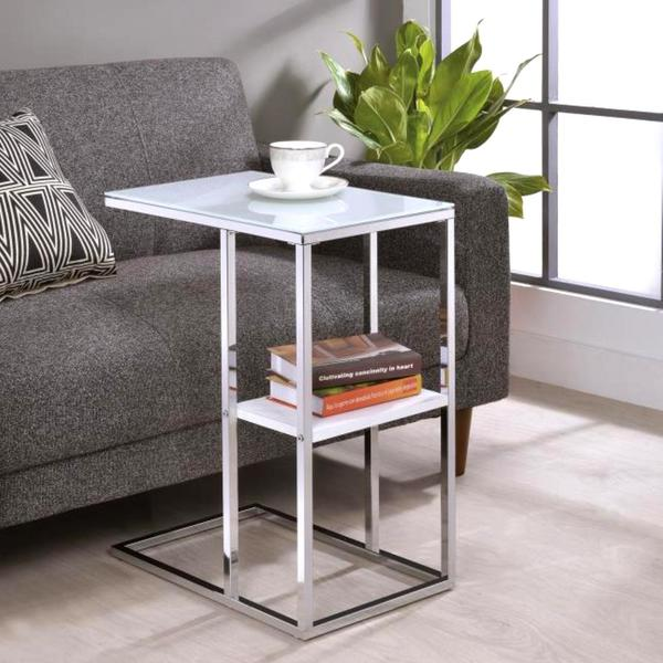 modern design living room chrome accent snack table with frosted tempered glass top