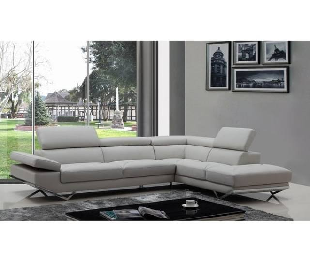 Shop Walden Modern Light Grey Leather L Shape Sofa With Adjustable Headrest Free Shipping Today Overstock 17433900