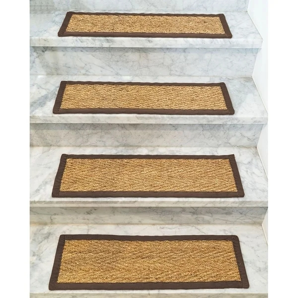 Shop Beach Seagrass Carpet Stair Treads 9 X 29 Espresso Border | Seagrass Carpet On Stairs | Gray Wood | Hard Wearing | Grey | Stair Malay Chen Sisal | 80 20 Wool Carpet Stair