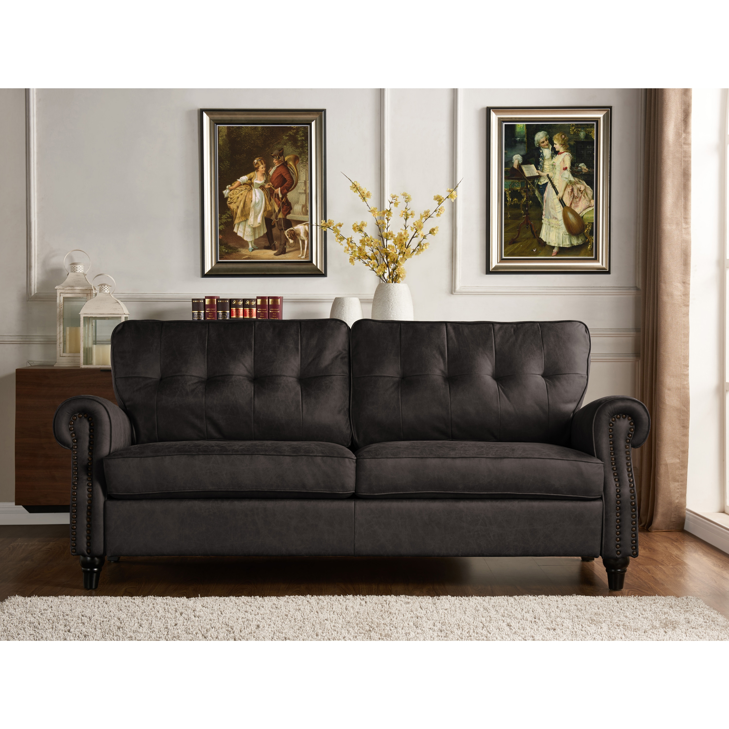 Grey Three Seater Sofa Bed In Brown Or Grey Air Leather Distressed Finish Faux Leather Couch Settee With Wood Detail Legs Sofas Couches Home Kitchen