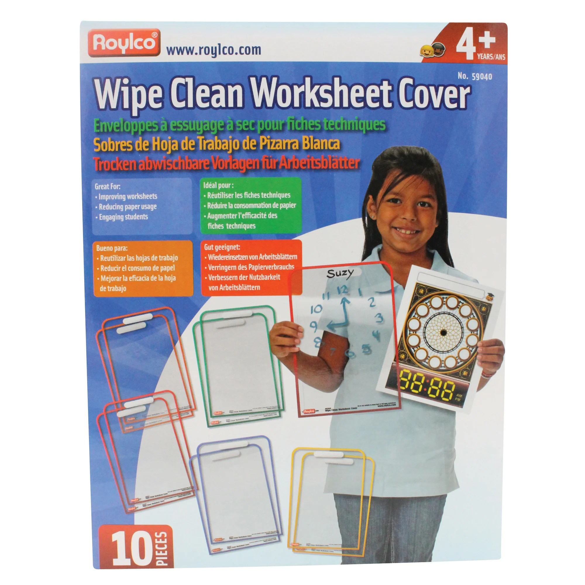 Roylco Wipe Clean Worksheet Covers N A