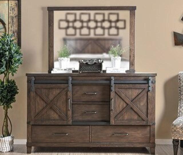 The Gray Barn Epona Rustic Farmhouse  Piece Dark Walnut Dresser And Mirror Set