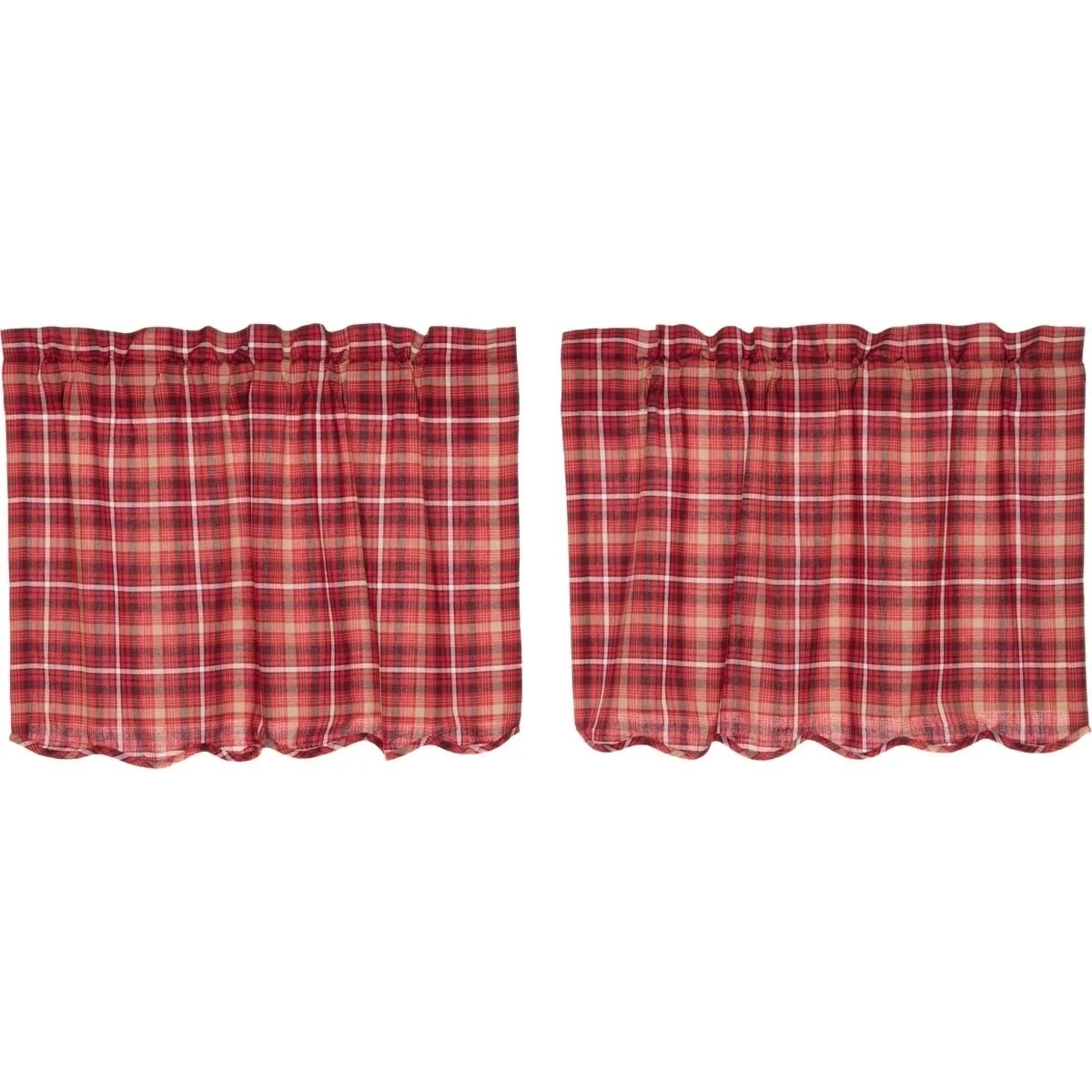Red Rustic Kitchen Curtains Vhc Braxton Tier Pair Rod Pocket Cotton Plaid Overstock 17926208
