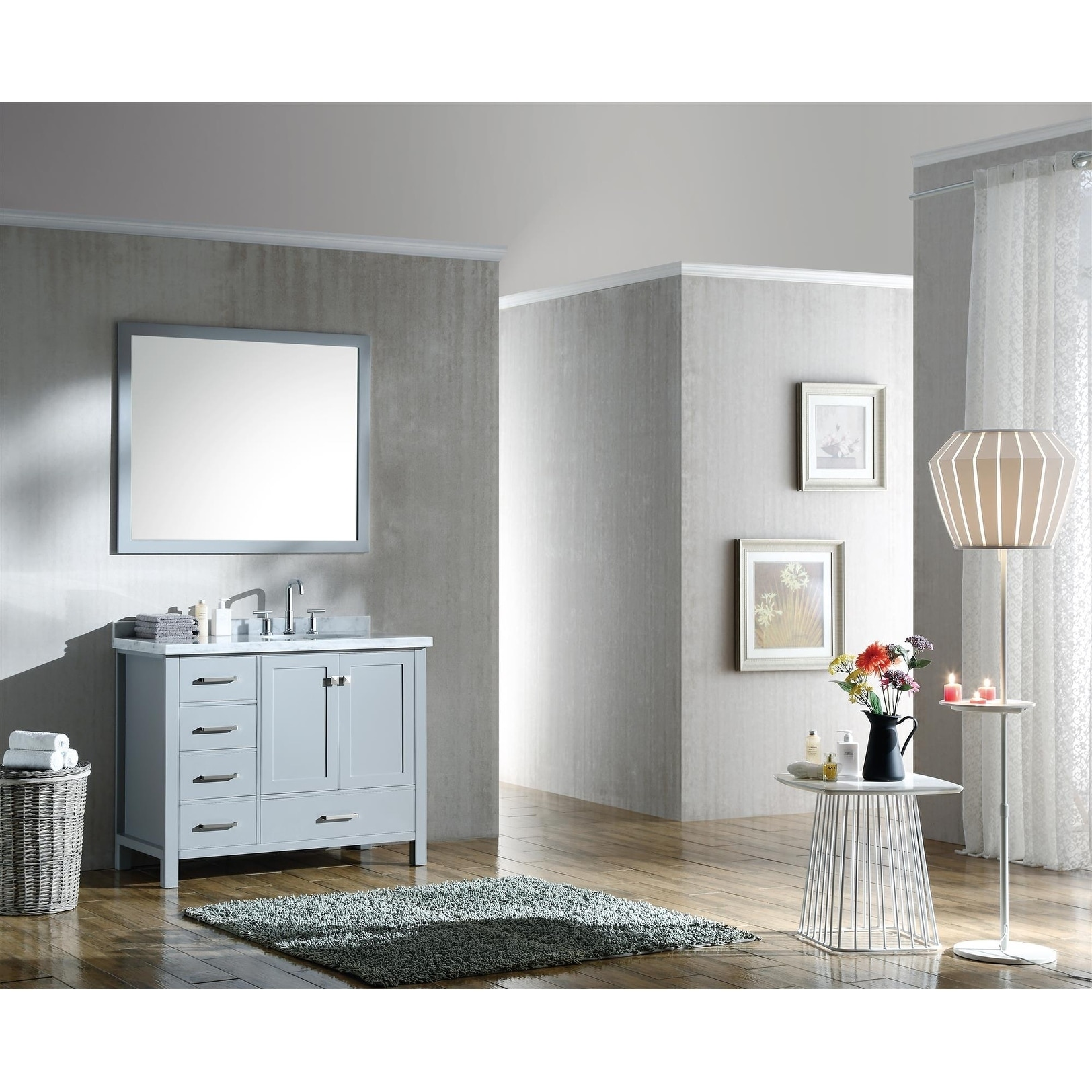 ariel cambridge 43 right offset single oval sink vanity set in grey