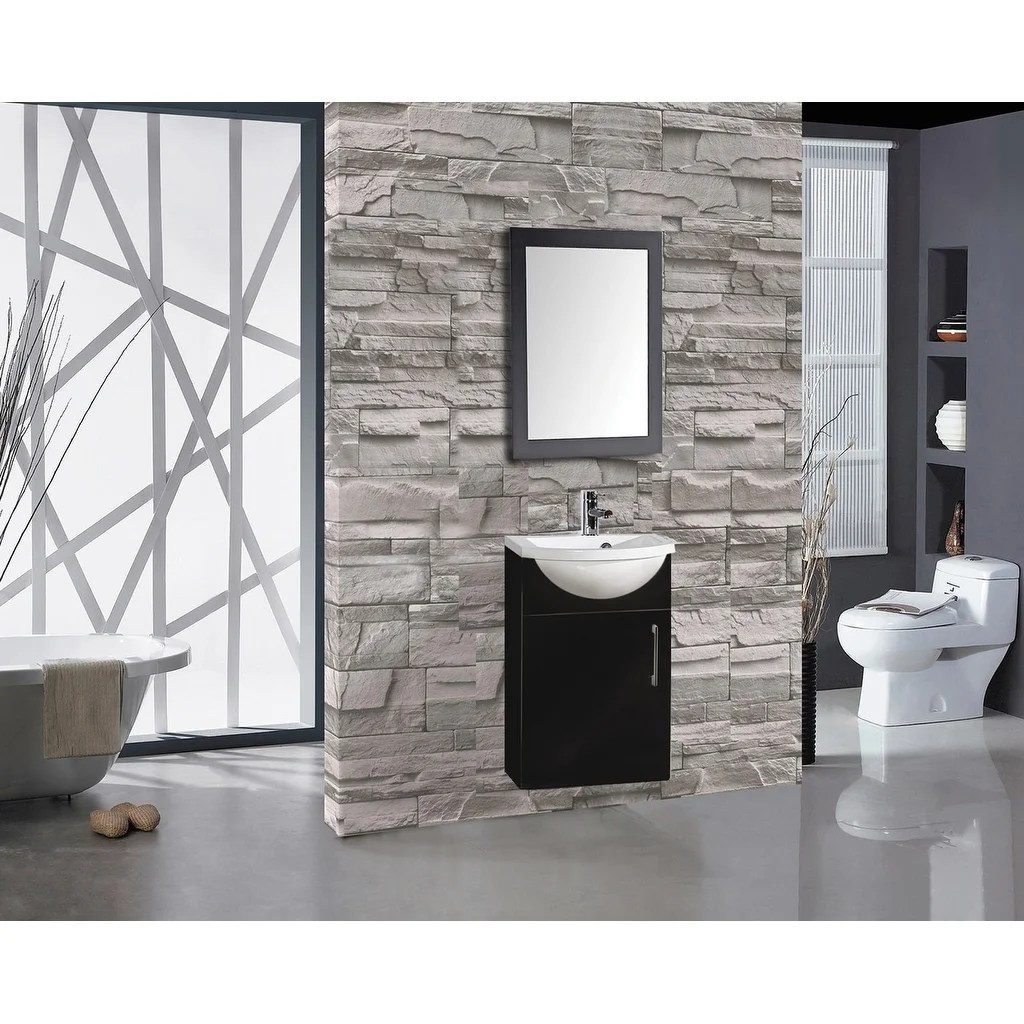 Athena 16 Inch Floating Single Sink Bathroom Vanity Black Overstock 18122572