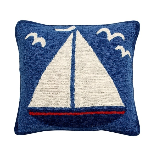 sail boat 18 hand hooked square cushion cover