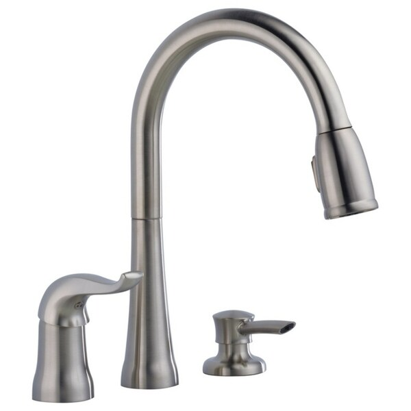 delta kate single handle pull down kitchen faucet with soap dispenser stainless 16970 sssd dst