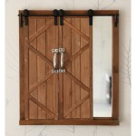 Decorative Mirror With Sliding Barn Style Wood Rustic Shutters