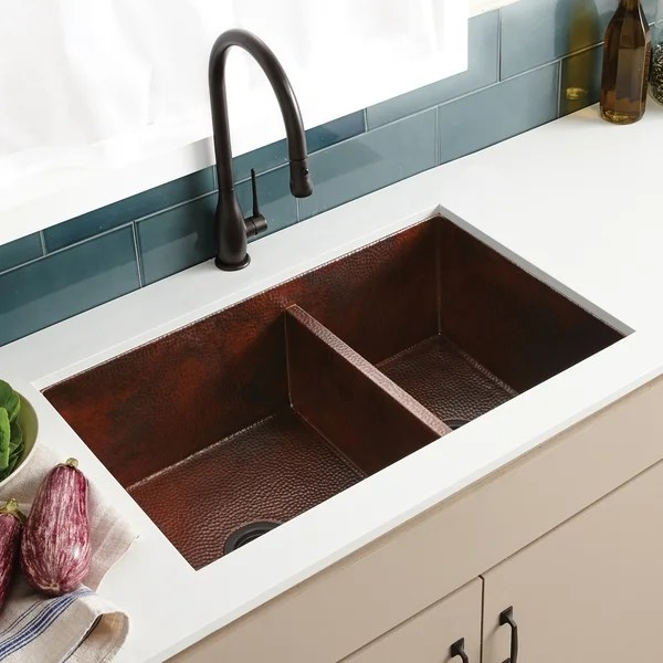 cocina duet hammered antique copper double bowl kitchen sink