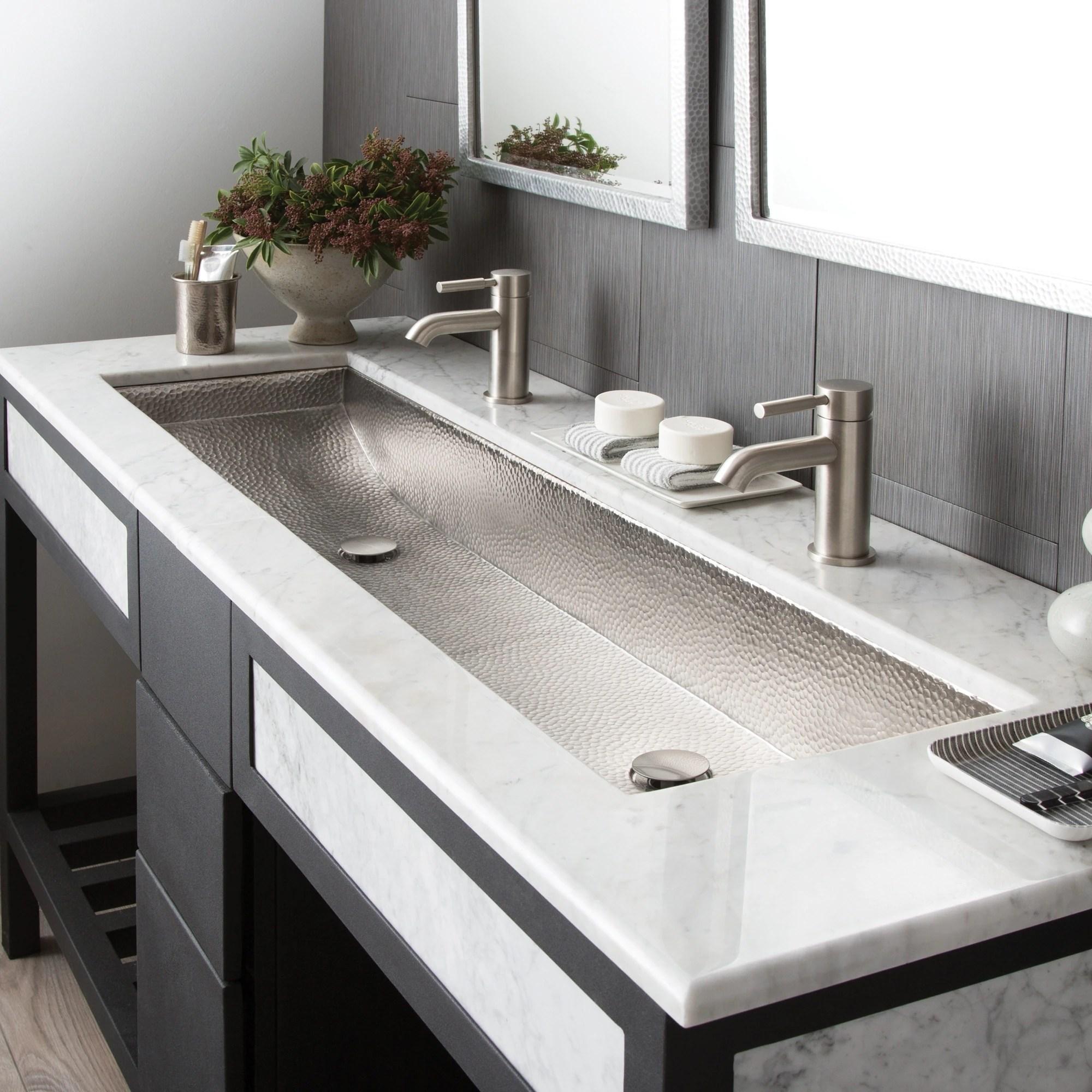 trough brushed nickel 48 inch undermount drop in bathroom sink 48 x 14 x 6