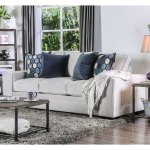 Furniture Of America Jema Contemporary Grey Velvet Fabric Sofa