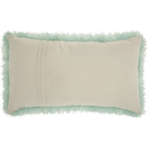 mina victory faux fur pastel seafoam green throw pillow 14 inch x 24 inch