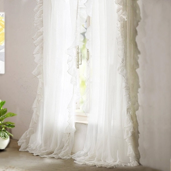 Shop DriftAway Sophie Sheer Voile Ruffle Edge Window Curtain Panel Pair On Sale Free