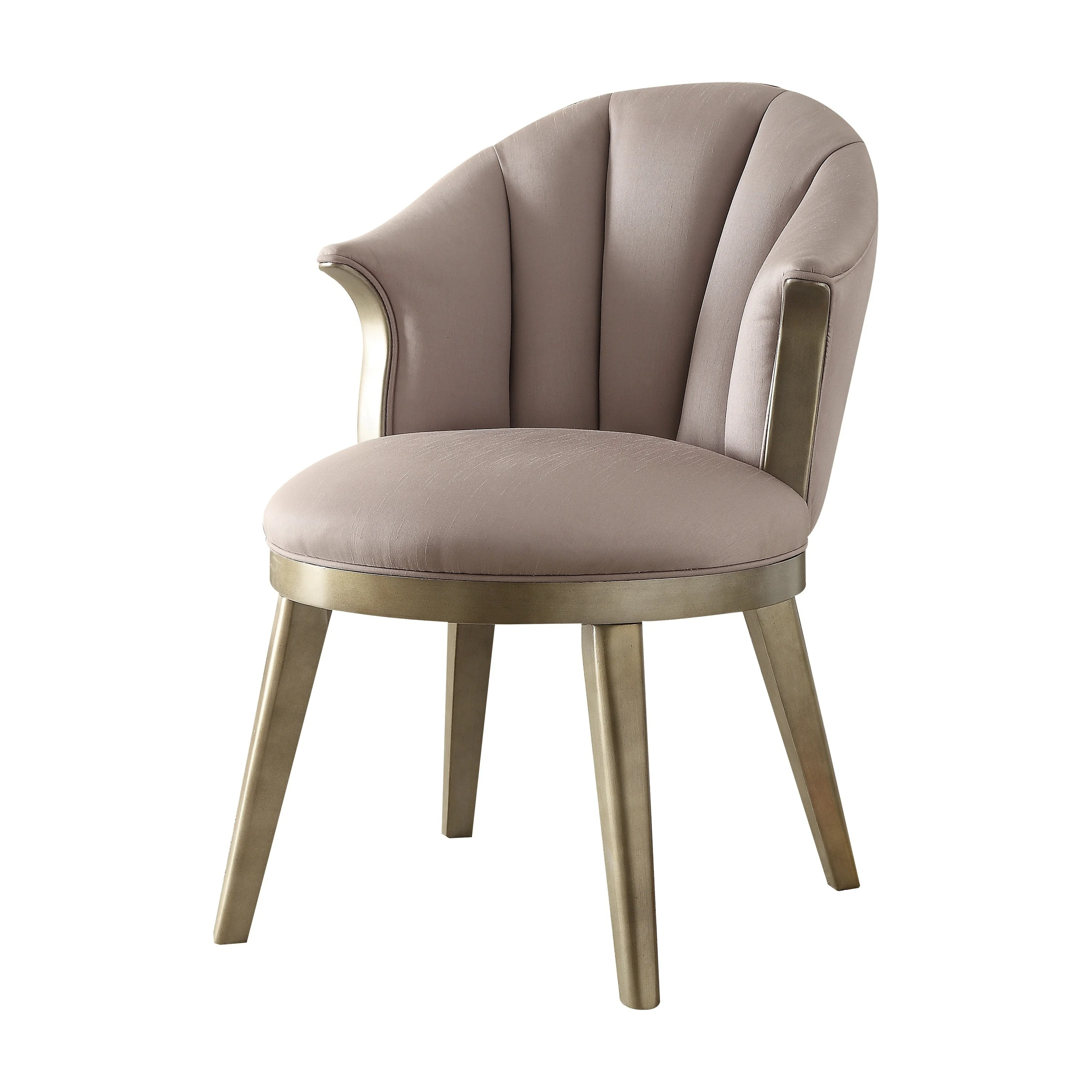 Shop Black Friday Deals On Acme Brecken Accent Chair In Light Lavender Fabric And Champagne Gold Overstock 18969202