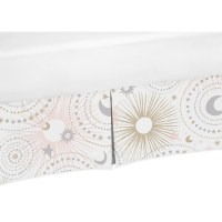 Sweet Jojo Designs Blush Pink, Gold, Grey and White Star and Moon Celestial Baby Girl Collection Crib Bed Skirt