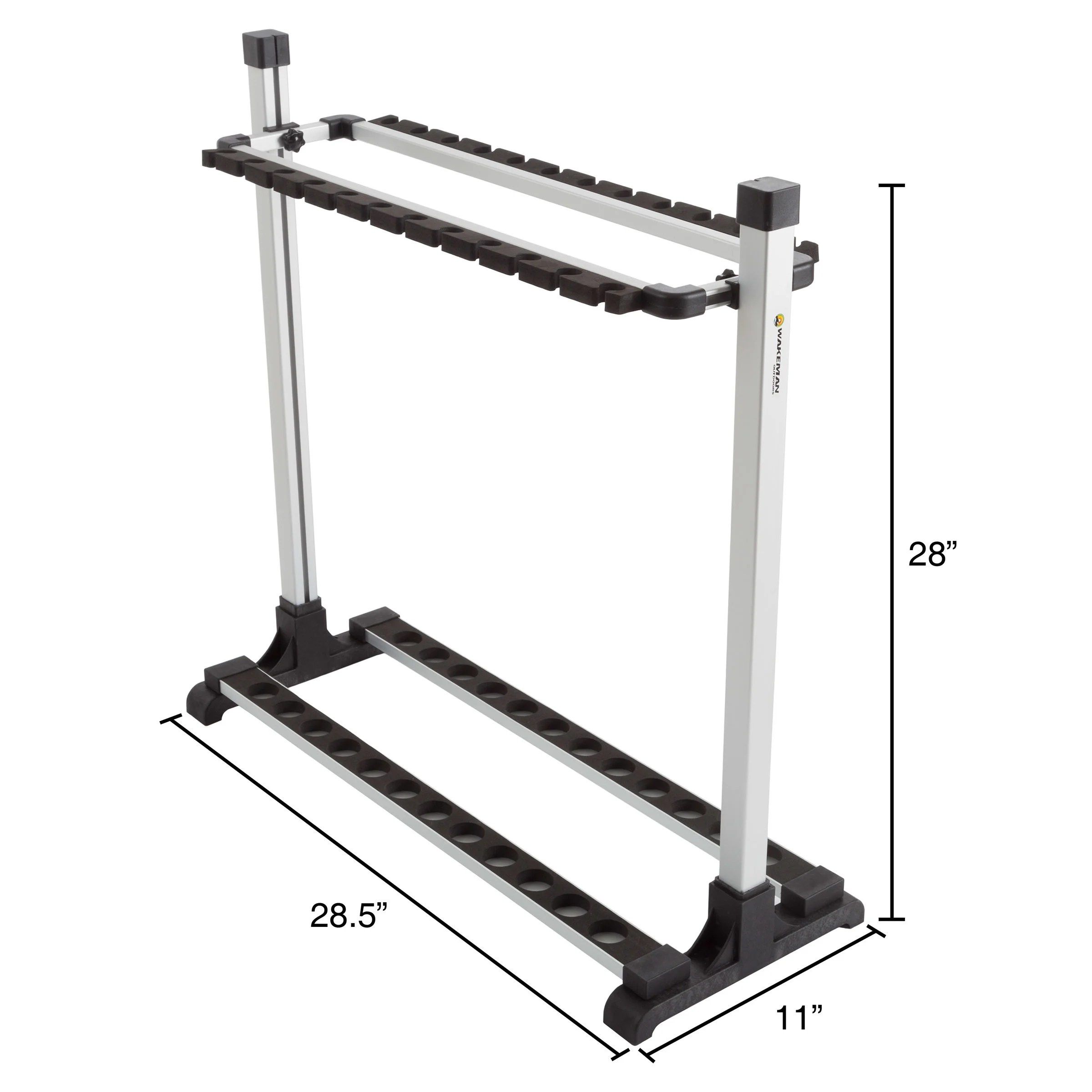 fishing rod rack aluminum freestanding floor storage organizer stand for home or garage fits 24 rods by wakeman outdoors
