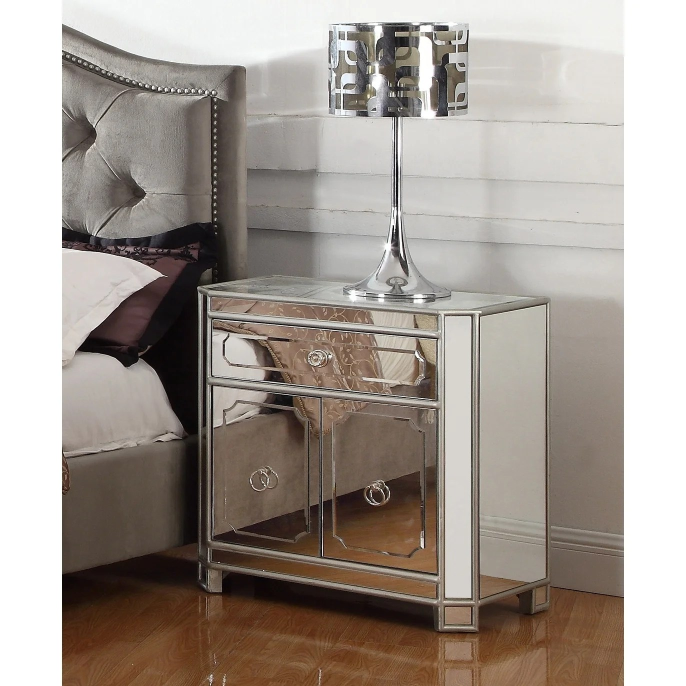 best master furniture mirrored 2 drawer nightstand