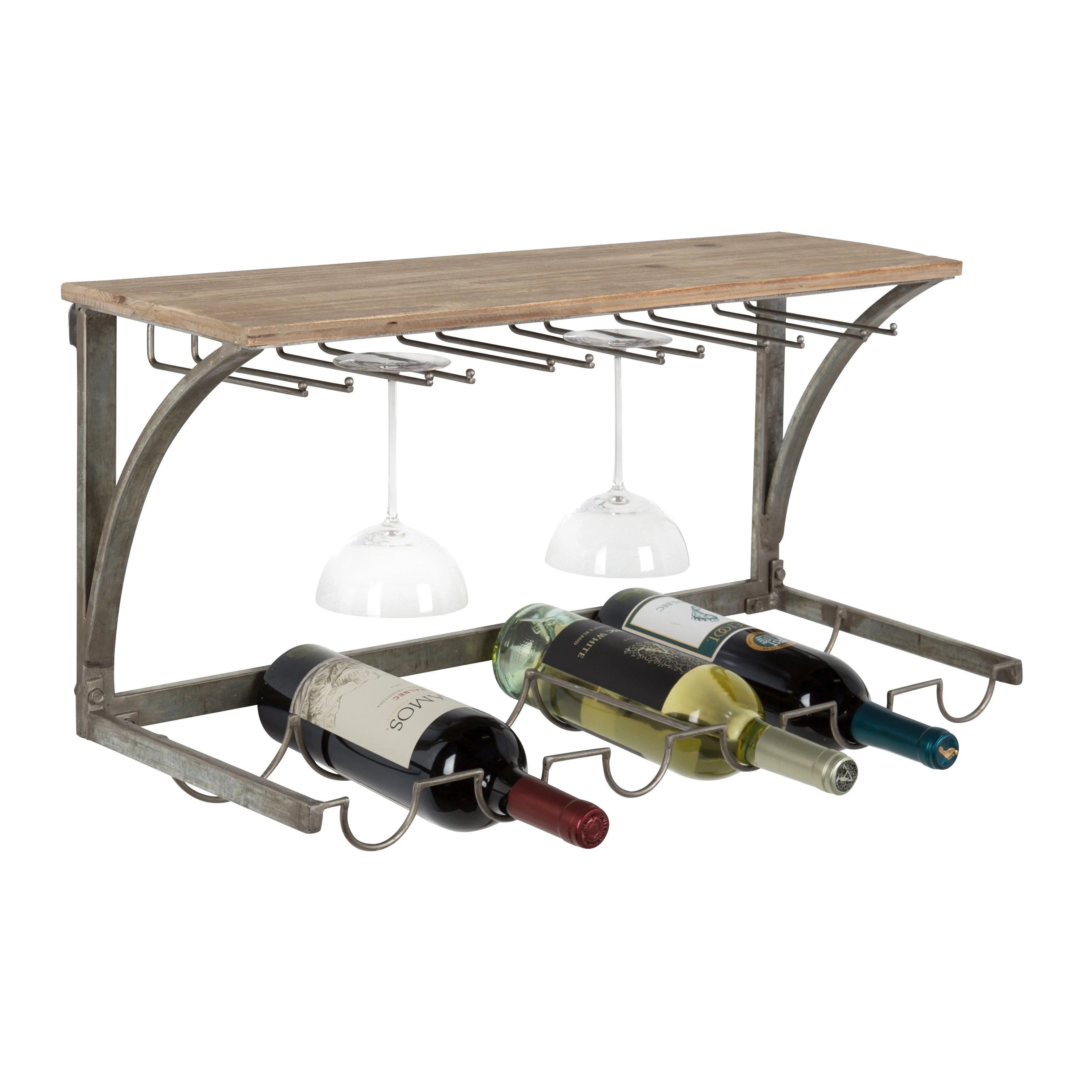 kate and laurel fairchild wood and metal wall mounted wine rack