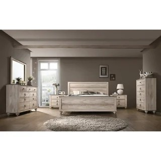 Buy Modern   Contemporary Bedroom Sets Online at Overstock com   Our     Imerland Contemporary White Wash Finish 6 Piece Bedroom Set  Queen