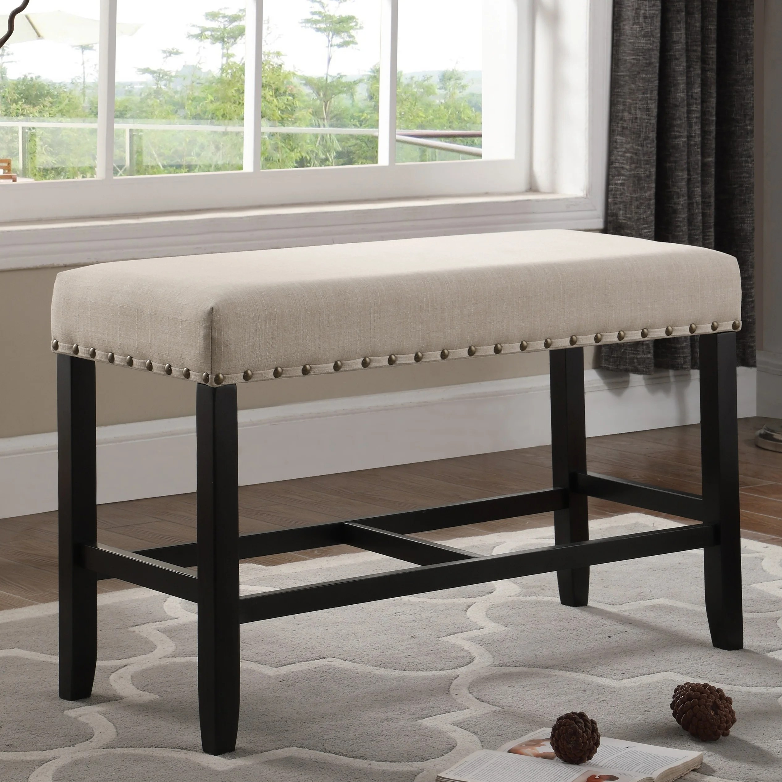 Biony Blue Fabric Counter Height Dining Bench With Nailhead Trim Overstock 19807923 Grey