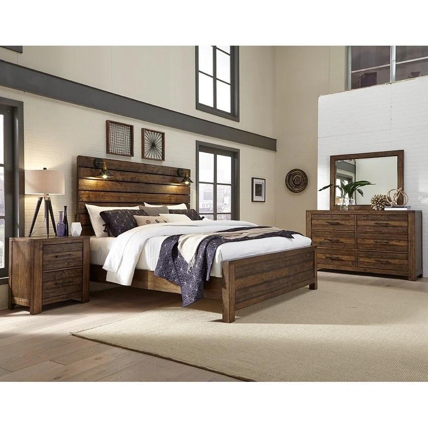 dajono rustic brown finish 4 piece bedroom set king bed dresser mirror and nightstand