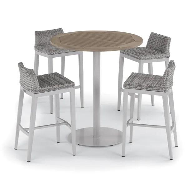 https www overstock com home garden oxford garden travira 5 piece 36 inch tekwood vintage round bar table argento resin wicker side rails bar stool set 20228022 product html