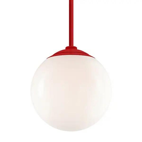 troy rlm lighting globe red 24 inch stem pendant white 16 inch shade