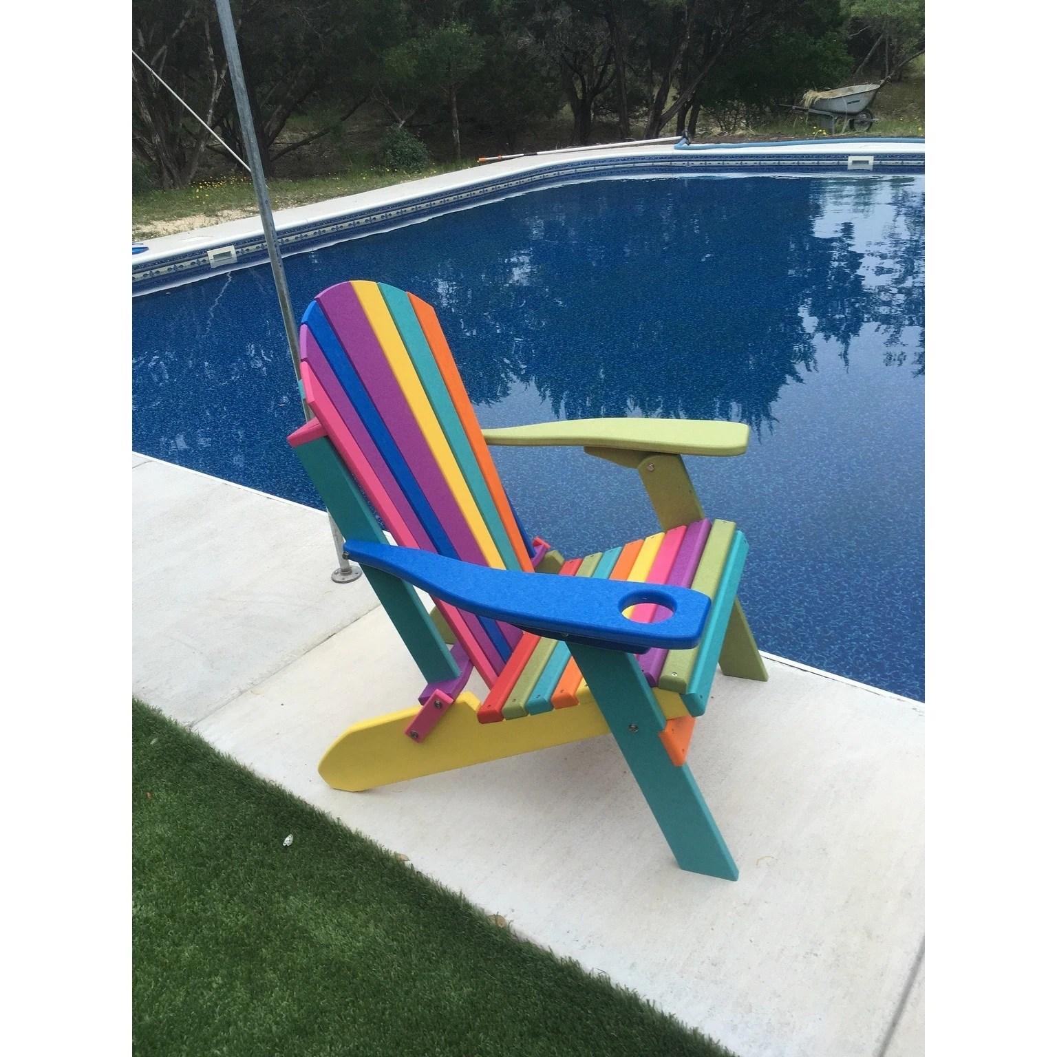 Folding Fanback Adirondack Chair Confetti Color W Cup Holder