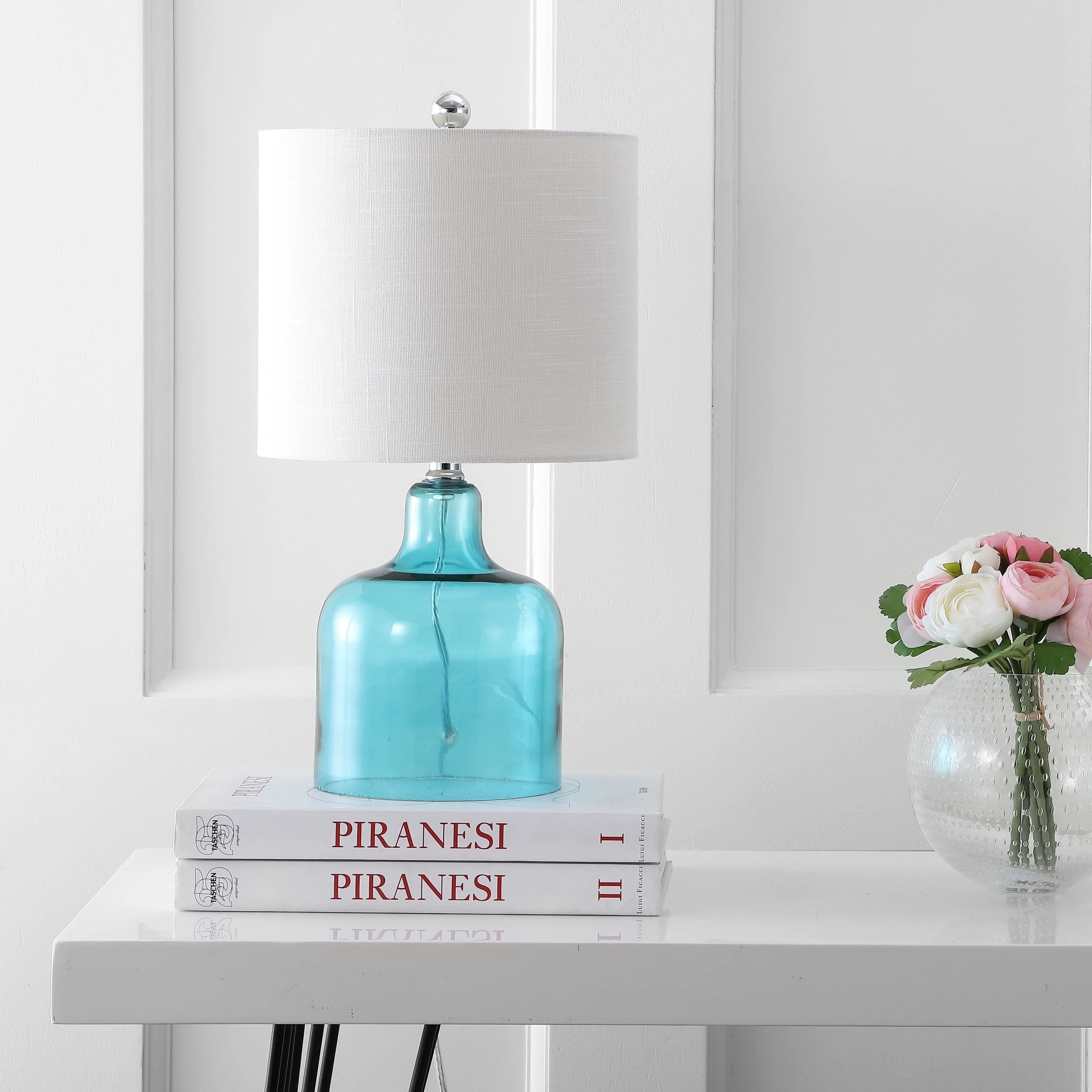 Shop Gemma 19 Glass Bell Led Table Lamp Moroccan Blue By Jonathan Y On Sale Overstock 20456474