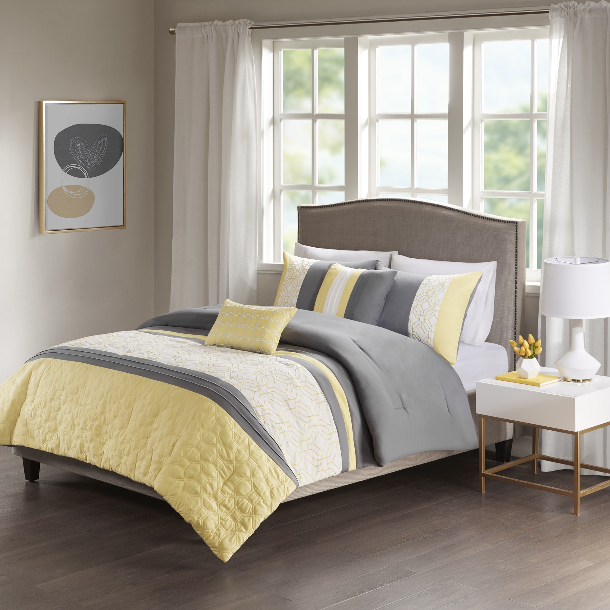 510 design shane yellow grey embroidered 5 piece comforter set