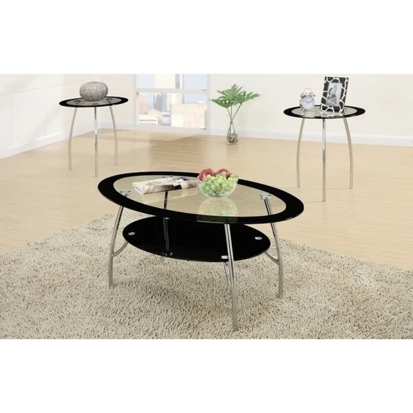 oval black edge glass top 3 pieces coffee end table set