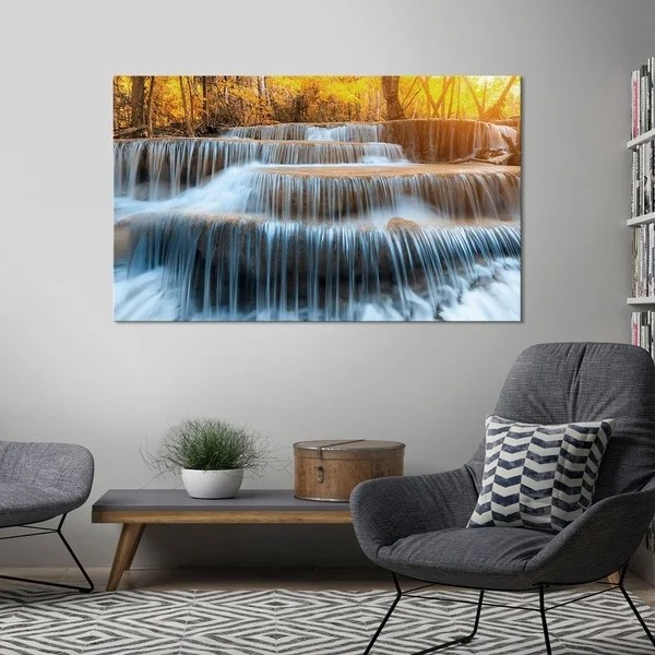 Yosemite Home D    cor  Autumn Waterfall  Tempered Glass Wall Art     Yosemite Home D    cor  Autumn Waterfall  Tempered Glass