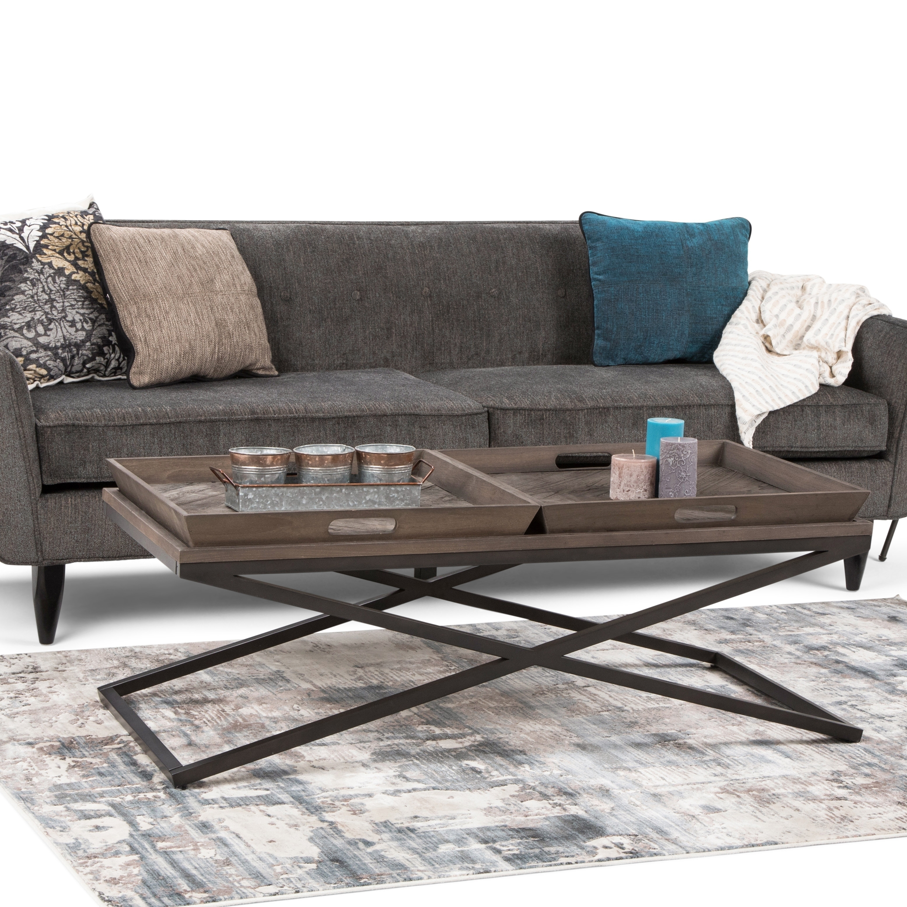 wyndenhall poulton solid aged elm wood and metal 50 inch wide rectangle modern industrial coffee table in distressed natural elm