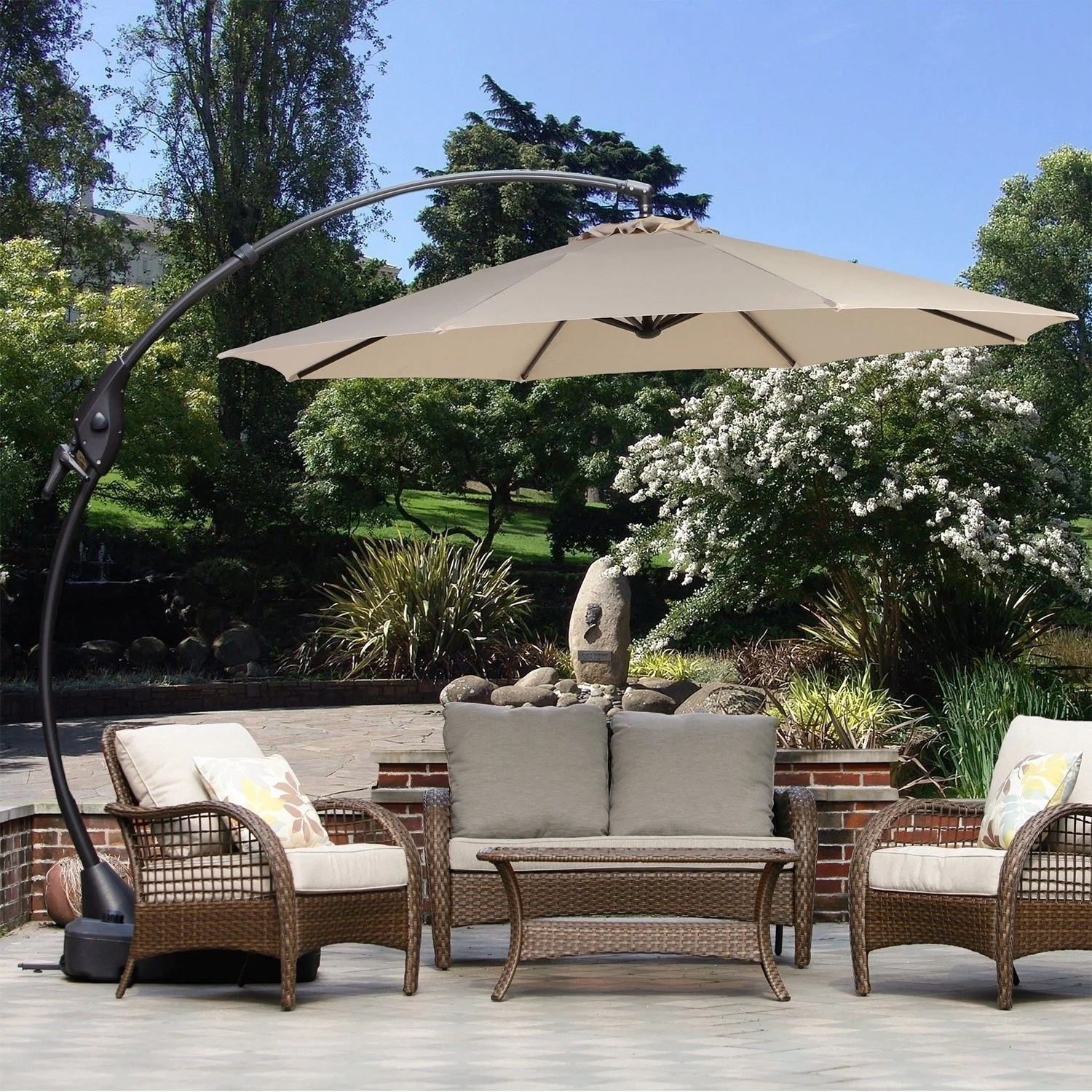 grand patio 10 ft outdoor patio umbrella with crank handle and base