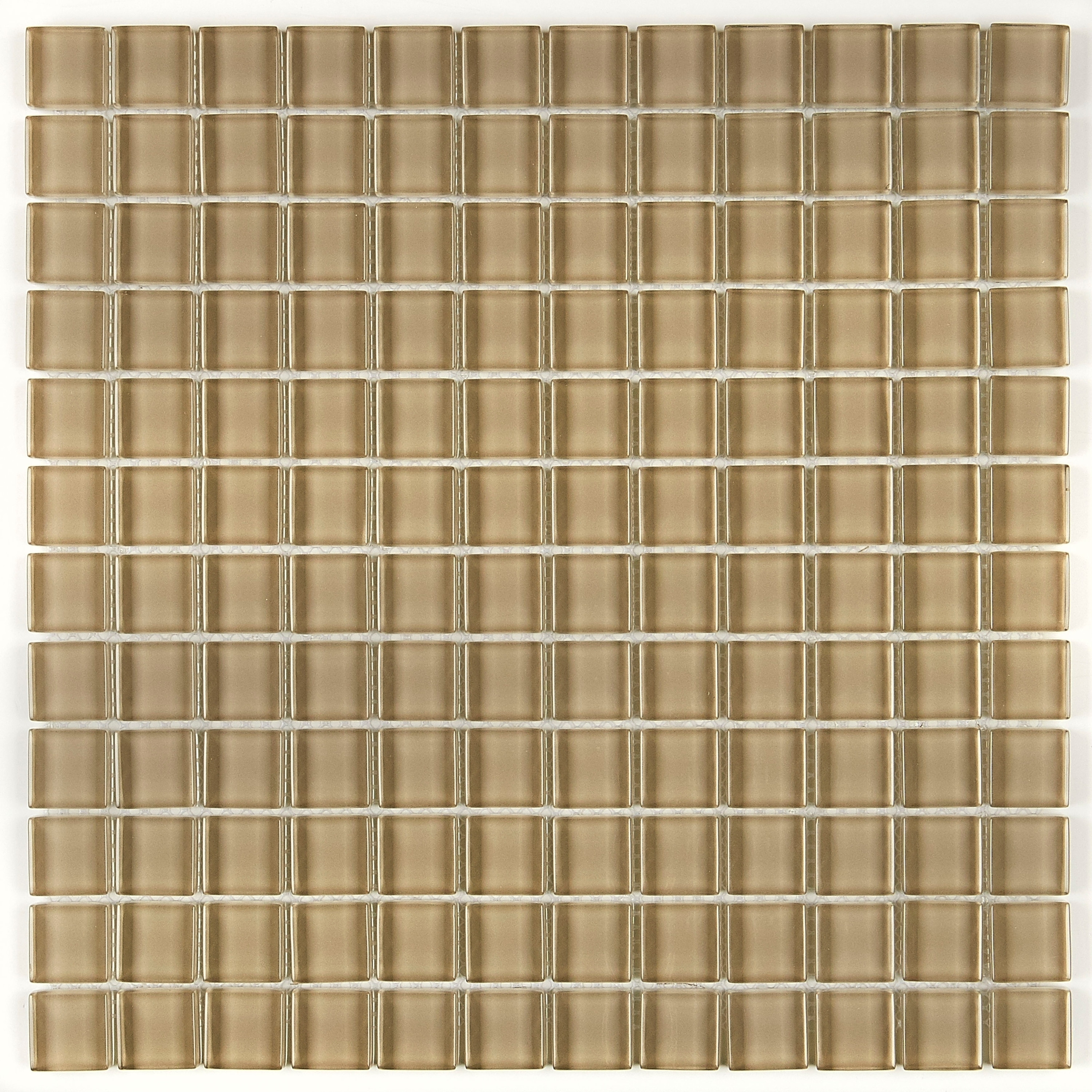 glass mosaic 1x1 inch accent tile in classic solid tango tan 12x12
